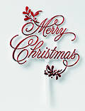 Merry Christmas Mistletoe Pic Motto 90 x 85mm, Red
