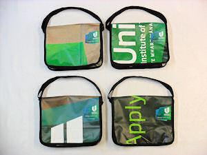 recycled billboard satchel unitec