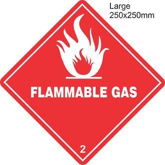 Flammable Gas 2.1 Large Vinyl Single Labels