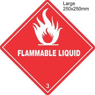 Flammable Liquid 3 Large Vinyl Single Labels
