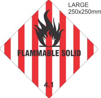 Flammable Solid 4.1Large Vinyl Single Labels