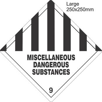 Miscellaneous Dangerous Substances 9 Large Vinyl Single Labels