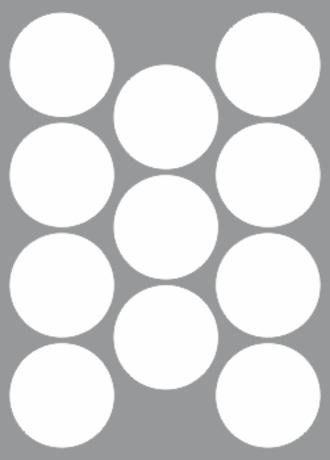 11 Labels per sheet 68mm Circle x100 sheets