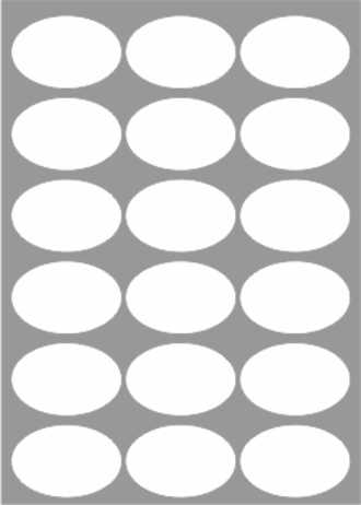 18 Labels per sheet 65mm x 43mm Oval x100 sheets