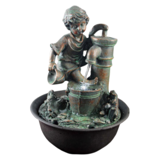 Boy with Hand Pump Fountain