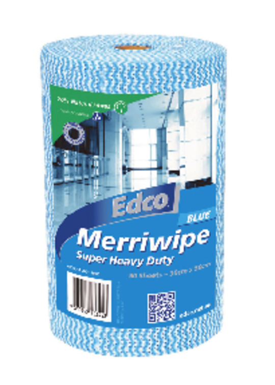 Merriwipe HD Blue Wipes Roll 45m x 30cm - 90 Shts