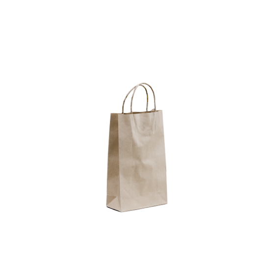 Kraft Paper Baby Bags 265 x 160 + 17 Twisted handle x 500