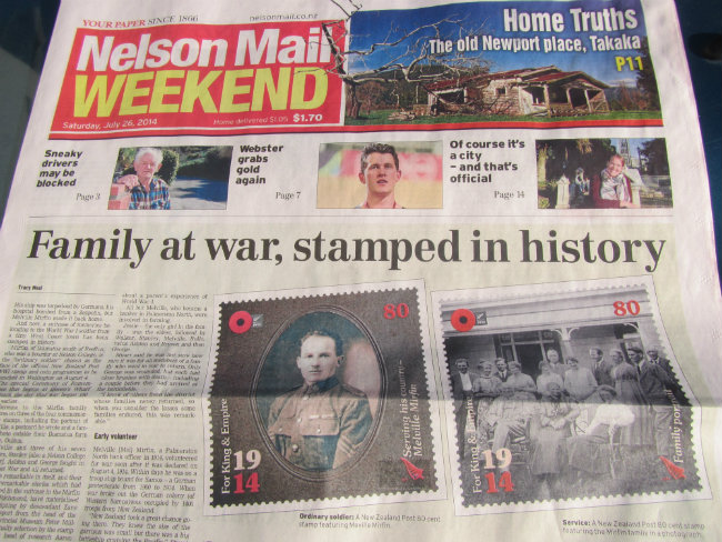 Mirfin Family at war Nelson  Mail 2014 650