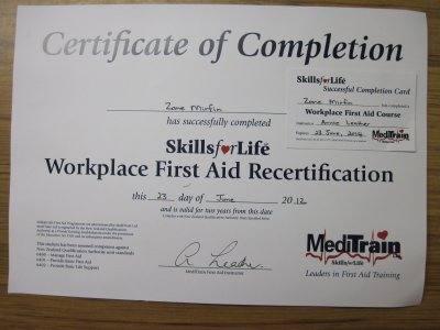 First aid  cert 1 400