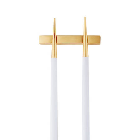Goa White & Matt Gold Chopstick Pair with Stand
