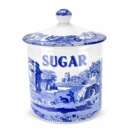 Blue Italian Covered Canister Sugar