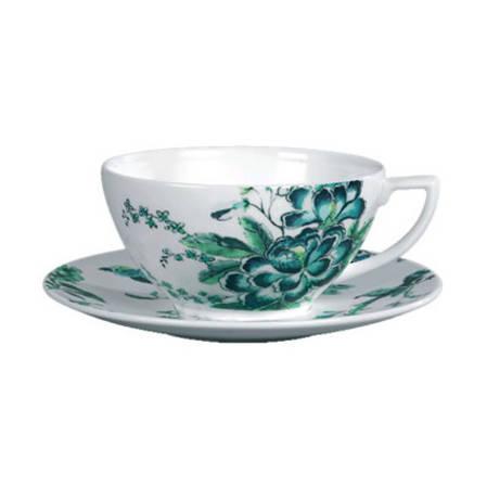 Chinoiserie White Tea Cup & Saucer Pair