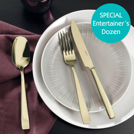 Entertainers Flat PVD Champagne Cutlery Set