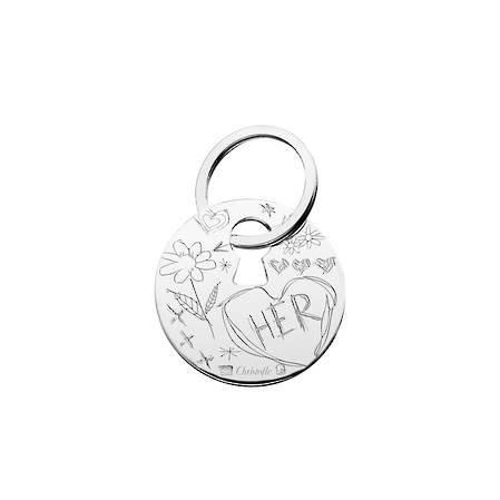 "Silver Plated Graffiti Key Chain ""Her"""