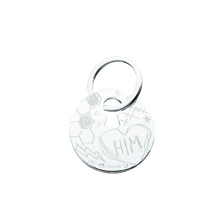 "Silver Plated Graffiti Key Chain ""Him"""