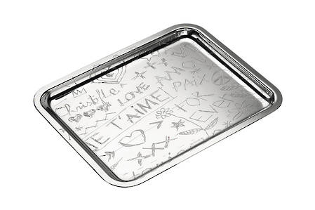 Silver Plated Graffiti Tray