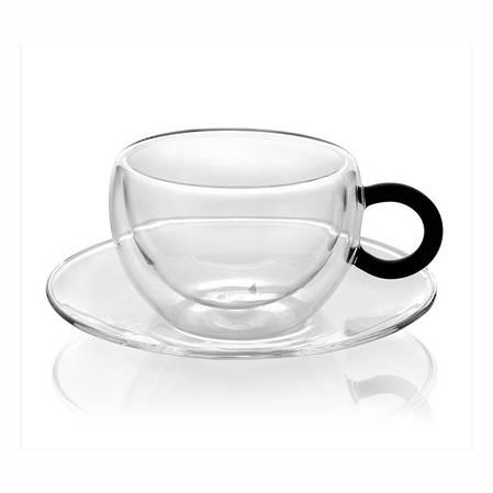 Colours Break Espresso Cup & Saucer Set 2 Black Handle