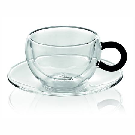 Colours Break Tea Cup & Saucer Set 2 Black Handle