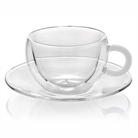 Colours Break Tea Cup & Saucer Set 2 White Handle