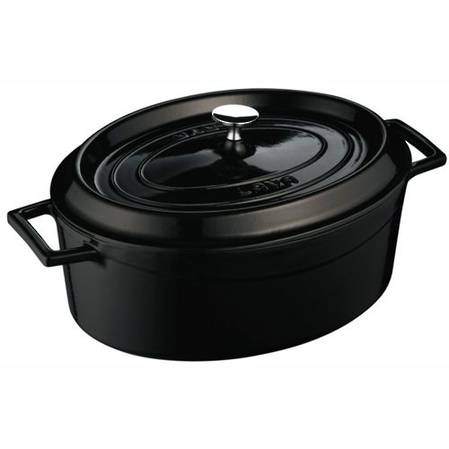 Lava Cast Iron Oval 29cm Casserole 4.8L Black