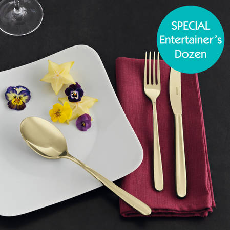 Entertainers Linear PVD Champagne Cutlery Set