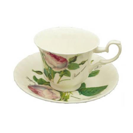 Redoute Rose Tea Cup & Saucer