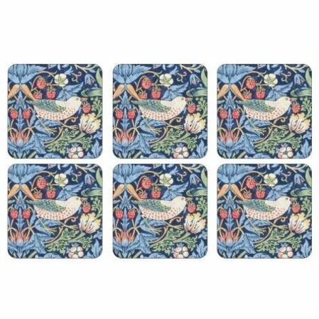 Strawberry Thief Blue Coasters Set of 6