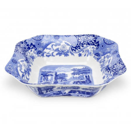 Blue Italian Square Salad Bowl