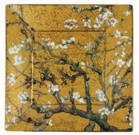 Van Gogh Almond Tree Gold Square 12cm Plate