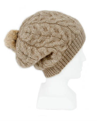 9872 Relaxed Cable Beanie with Rabbit Fur Pompom