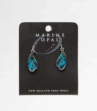 MOE25 - Marine Opal Paua Raindrop Dangle Earrings