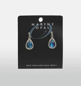 MOE50 - Marine Opal Paua Teardrop with Crystals Earrings
