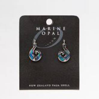 MOE53 - Marine Opal Paua with Fish Hook Design Earrings