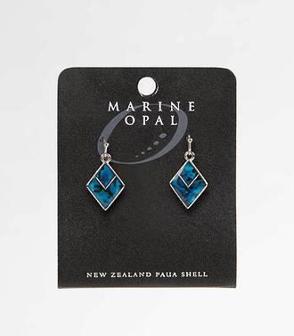 MOE77 - Marine Opal Diamond with V Blue Paua Earrings
