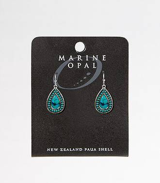 MOE95 - Marine Opal Tear Drop Turquoise Black Paua Centre Earrings