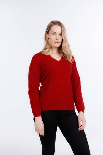 Merino Possum Vee Neck Plain Sweater