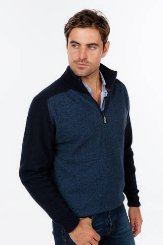 NE348 Marl Half Zip - Slim Fit