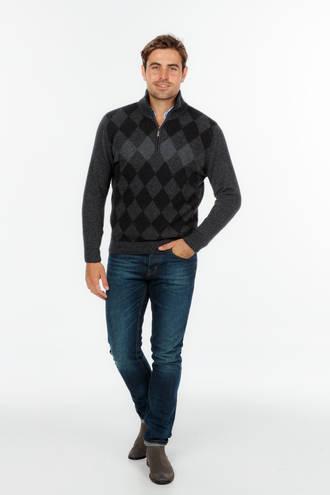 Merino possum Diamond Half Zip Sweater - Slim Fit