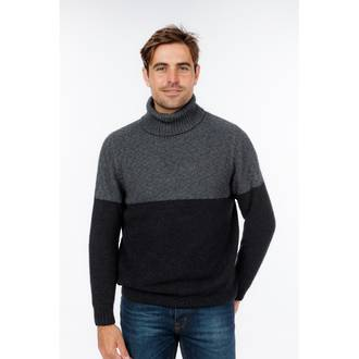 NS406 Polo Neck Two Tone Sweater