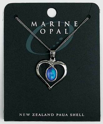 PJS13 - Marine Opal Fine Chain Necklace - Paua Oval in Heart