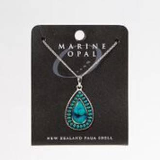 PJS131 - Marine Opal Turquoise Centre Teardrop Necklace