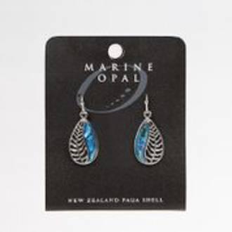 MOE82 - Marine Opal Fern Design Drop Earrings