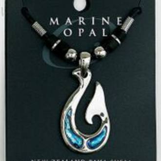 MOP48 - Marine Opal with Cord Necklace - Whale Tail