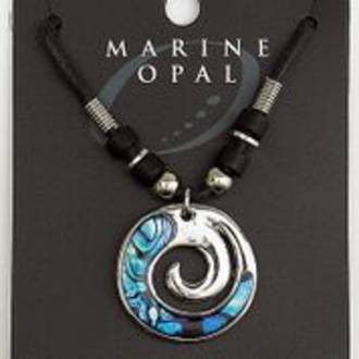 MOP52 - Marine Opal with Cord Necklace - Koru