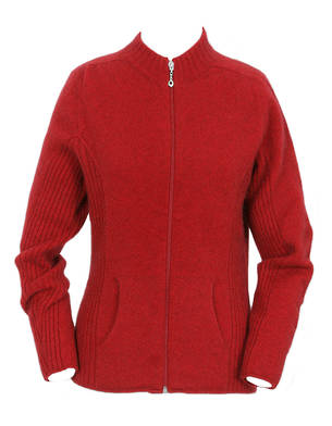 Merino Possum Womens Rib Detail Jacket with Pockets 9975