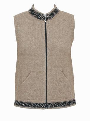 9973 Motif Zip Vest with pockets