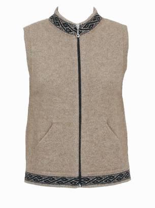 Merino Possum Motif Zip Vest with pockets 9973