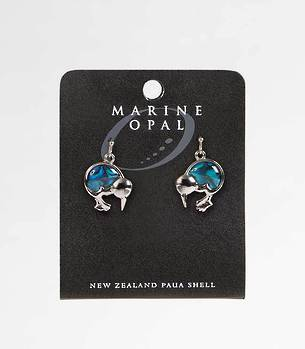 MOE21 - Marine Opal Kiwi Dangle Earrings