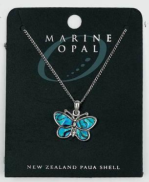 PJS12 - Marine Opal Fine Chain Necklace - Paua Butterfly