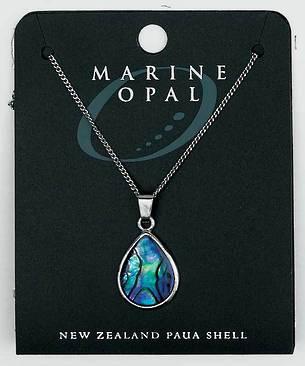 PJS5 - Marine Opal Fine Chain Necklace - Paua Short Tear Drop